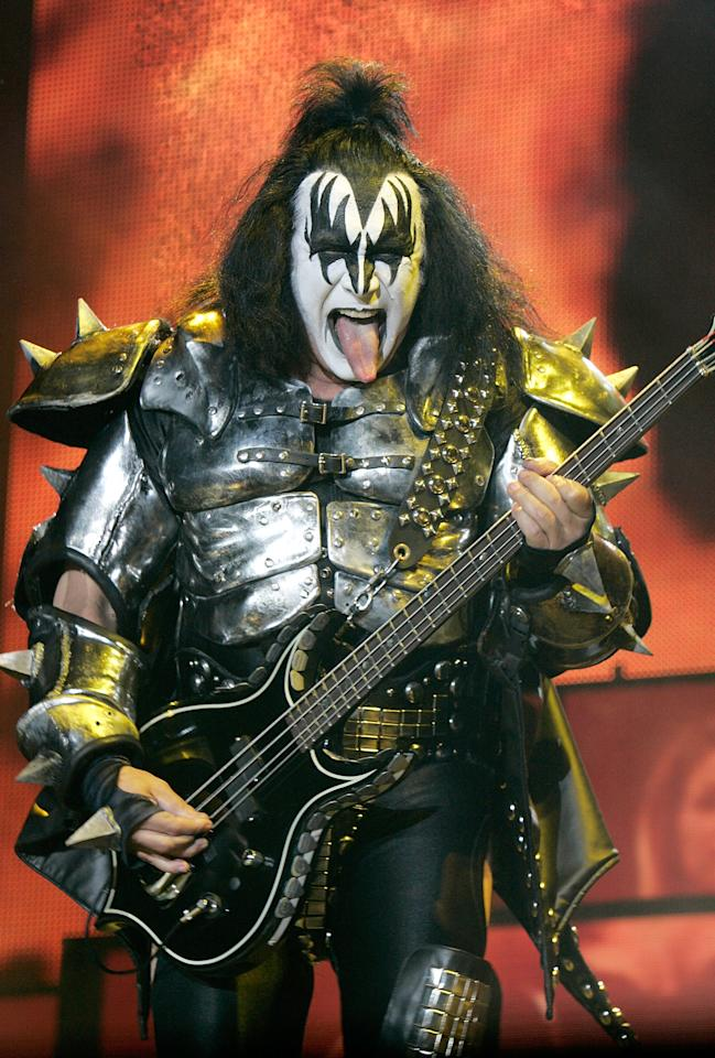 Gene Simmons of KISS<br><br>Real name: Chaim Weitz<br><br>(Photo by DON EMMERT/AFP/Getty Images)