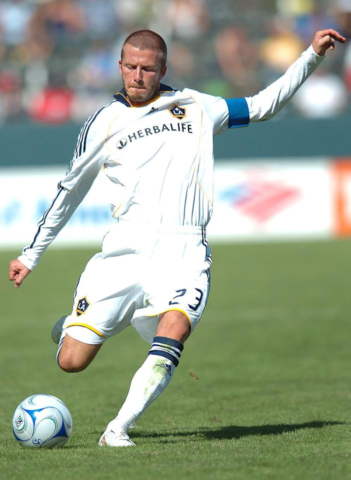 "Before heading to Italy to play for AC Milan during his winter break from MLS action, David Beckham donned his LA Galaxy apparel one last time. Who doesn't love a man in uniform? Jose/MarinMedia/LondonEnt/<a href=""http://www.splashnewsonline.com"" target=""new"">Splash News</a> - October 26, 2008"