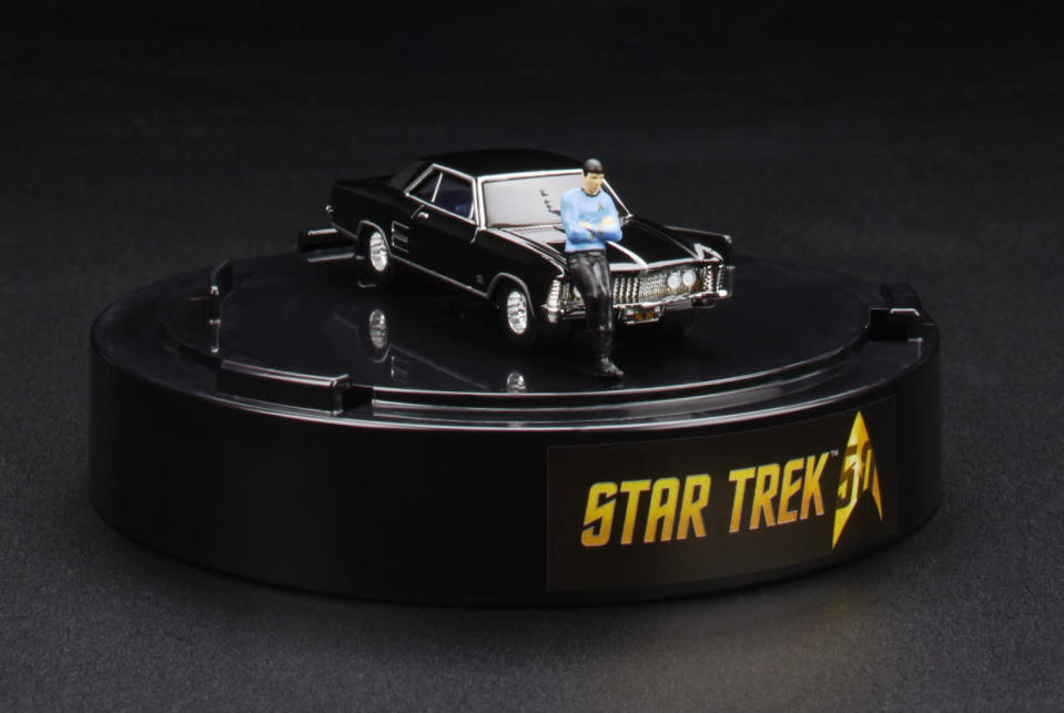 """<p>This set recreates a<a rel=""""nofollow noopener"""" href=""""http://theborgerspeaks.blogspot.com/2011/06/leonard-nimoy-spock-and-his-1964-buick.html"""" target=""""_blank"""" data-ylk=""""slk:famous series of photos"""" class=""""link rapid-noclick-resp""""> famous series of photos</a> taken when Leonard Nimoy, in full Spock gear, posed with his '64 Buick Riviera. A miniature figure of Nimoy is included for this collectible that celebrates both the 50th anniversary of Trek and the legacy of the late star. ($20)</p>"""