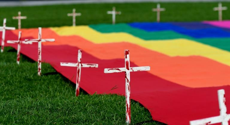 El Salvador has been plagued by hate crimes against gay and trans people, and in 2017 activists erected crosses alongside a rainbow flag in the capital to honour victims