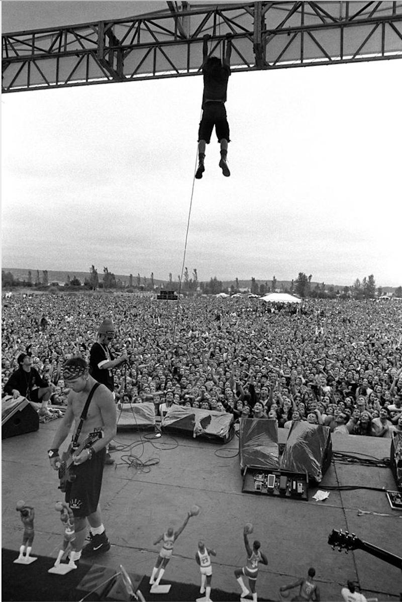 """Pearl Jam performing in Seattle, Washington, 1992. Photographed by Lance Mercer and featured in the exhibition """"Grunge: Rise of a Generation,"""" curated by Marcelle Murdock and Casey Fannin-Kaplan. On view at Morrison Hotel Gallery in New York, Maui, and Los Angeles from March 8 through 31, 2019."""