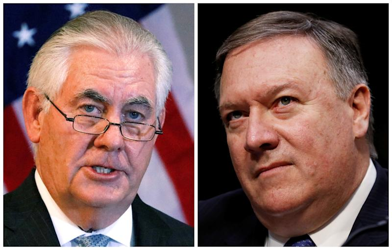 A combination photo shows U.S. Secretary of State Rex Tillerson (L) in Addis Ababa, Ethiopia, March 8, 2018, and CIA Director Mike Pompeo on Capitol Hill in Washington, DC, Feb. 13, 2018 respectively.