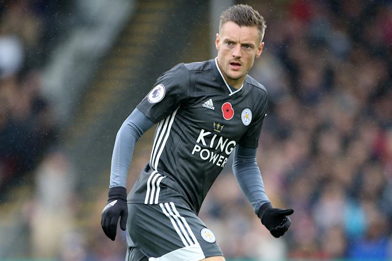 LONDON, ENGLAND - NOVEMBER 03: Jamie Vardy of Leicester City during the Premier League match between Crystal Palace and Leicester City at Selhurst Park on November 2, 2019 in London, United Kingdom. (Photo by Plumb Images/Leicester City FC via Getty Images)