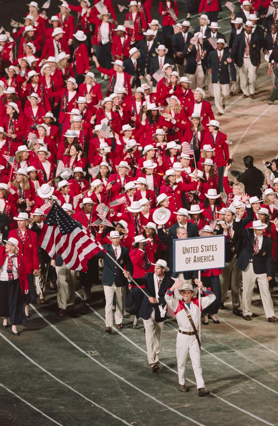 <p>The 2000 Sydney uniforms showed off plenty of Western inspiration, featuring cherry red blazers, tailored pants, and statement-making cowboy hats. </p>