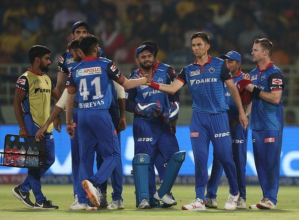Shreyas Iyer and his team during the IPL qualifier
