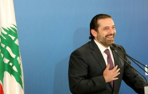 Lebanese Prime Minister Saad Hariri addresses journalists during a press conference in Beirut on May 7, 2018