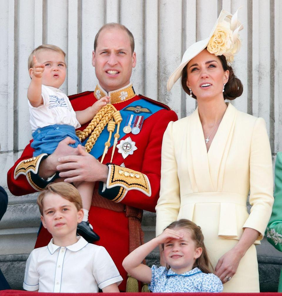 """<p><a href=""""https://www.townandcountrymag.com/society/tradition/a27839654/prince-louis-harry-trooping-the-colour-clothes-borrowed/"""" rel=""""nofollow noopener"""" target=""""_blank"""" data-ylk=""""slk:Louis stole the show"""" class=""""link rapid-noclick-resp"""">Louis stole the show</a> at his very first Trooping the Colour, which he attended with Prince William, Kate Middleton, Prince George, and Princess Charlotte. Louis was seen excitedly waving and pointing to the crowd, and was also clapping during the royal flypast. </p>"""