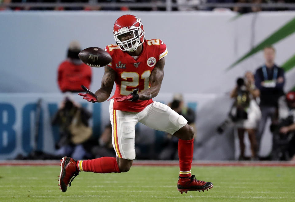 FILE - In this Feb. 2, 2020, file photo, Kansas City Chiefs' Bashaud Breeland (21) intercepts a San Francisco 49ers pass during the first half of NFL football's Super Bowl 54 in Miami Gardens, Fla. Breeland was arrested on several charges Tuesday, April 28, in South Carolina, including possessing marijuana or hash, driving with an open container of alcohol and resisting arrest. The 28-year-old Breeland, of Charlotte, N.C., was being held at the York County Jail, according to the facilitys online records. (AP Photo/Wilfredo Lee, File)