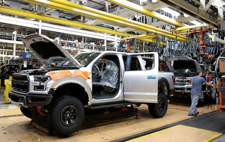 FILE PHOTO: A Ford 2018 F150 pick-up truck moves down the assembly line at Ford's Dearborn Truck Plant during the 100-year celebration of the Ford River Rouge Complex in Dearborn, Michigan U.S. September 27, 2018.  REUTERS/Rebecca Cook/File Photo