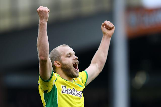 Teemu Pukki of Norwich City celebrates after scoring his team's fourth goal during the Sky bet Championship match between Norwich City and Queens Park Rangers