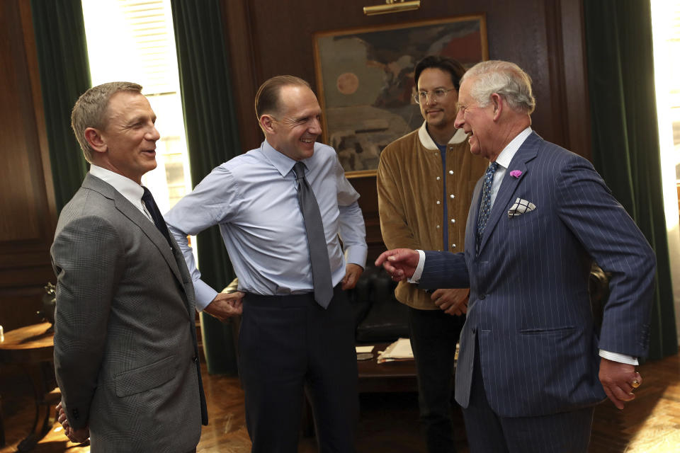 Photo by: KGC-375/STAR MAX/IPx 2019 6/20/19 Charles The Prince of Wales visits the James Bond film set at Pinewood Studios on June 20, 2019 in Iver Heath. During his tour of the studios, Charles met actor Daniel Craig, actor Ralph Fiennes, actress Naomie Harris, director Cary Joji Fukunaga and producers Barbara Broccoli and Michael G. Wilson. The Prince is the Royal Patron of The British Film Institute and the Intelligence Services. (Iver Heath, England, UK)