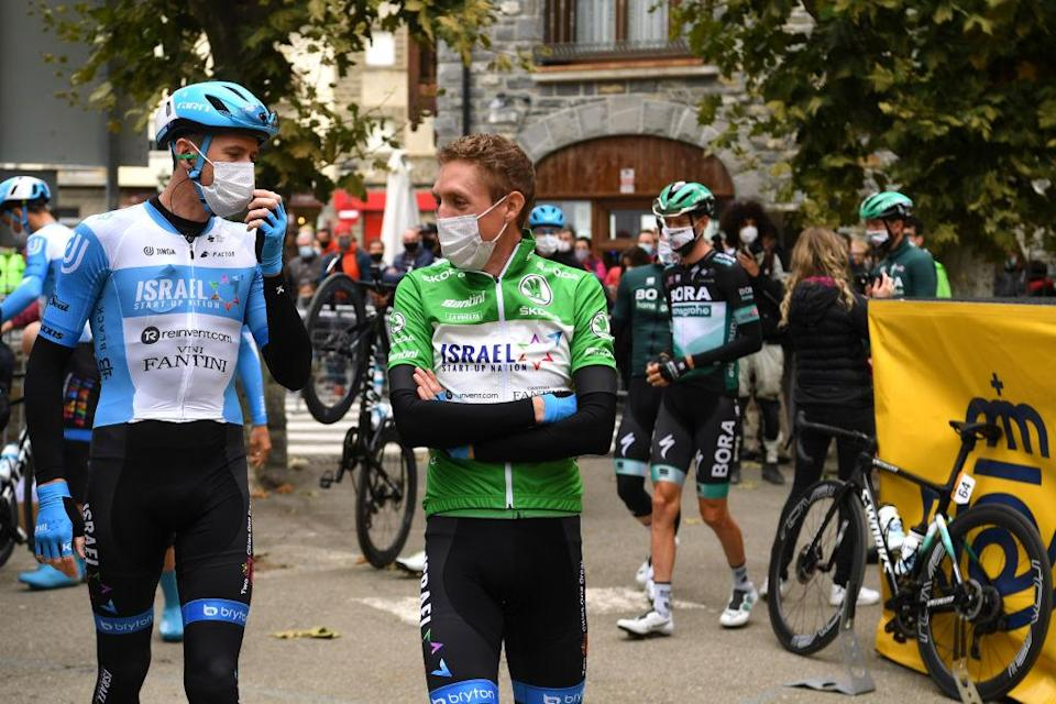 SALLENT DE GLLEGO SPAIN  OCTOBER 25 Start  Daniel Martin of Ireland Green Points Jersey Omer Goldstein of Israel and Team Israel StartUp Nation  Mask  Covid safety measures  Team Presentation  during the 75th Tour of Spain 2020  Stage 6 a 1464km stage from Biescas to Sallent de Gllego  Aramn Formigal 1790m  lavuelta  LaVuelta20  La Vuelta  on October 25 2020 in Sallent de Gllego Spain Photo by David RamosGetty Images