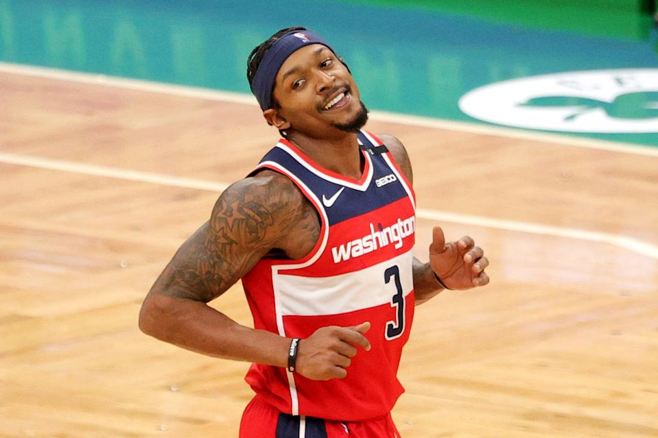 Bradley Beal smiles during a game.