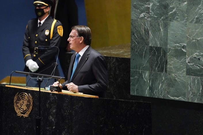 Brazil's President Jair Bolsonaro addresses the 76th Session of the U.N. General Assembly, Tuesday, Sept. 21, 2021, at United Nations headquarters in New York. (AP Photo/Evan Vucci)