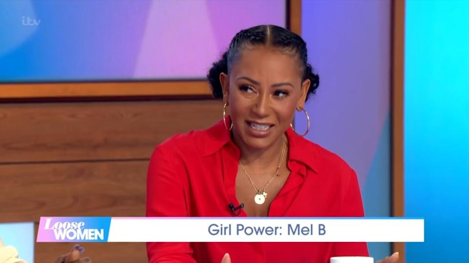 Spice Girls singer Mel B appeared on 'Loose Women' on Thursday 5 September, revealing that Geri Horner 'probably still hates' the fact that she told the public about their secret sex romp (ITV)
