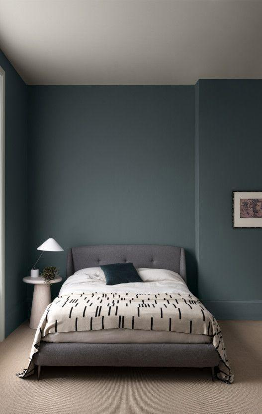 """<p>A deep blue/green paired with a soft grey can create a serene and romantic feel. Velvet fabrics work well in this colour scheme to add to the element of luxury. Use swathes of lighter colours – creams and whites – on walls or floors to stop your green and grey colour scheme weighing down the feel of the room. </p><p>Pictured: <a href=""""https://www.paintandpaperlibrary.com/catalog/product/view/id/31573/category/187/"""" rel=""""nofollow noopener"""" target=""""_blank"""" data-ylk=""""slk:Btwn Dog and Wolf by Paint & Paper Library"""" class=""""link rapid-noclick-resp"""">Btwn Dog and Wolf by Paint & Paper Library</a><strong><br><br>Follow House Beautiful on <a href=""""https://www.instagram.com/housebeautifuluk/"""" rel=""""nofollow noopener"""" target=""""_blank"""" data-ylk=""""slk:Instagram"""" class=""""link rapid-noclick-resp"""">Instagram</a>.</strong></p>"""