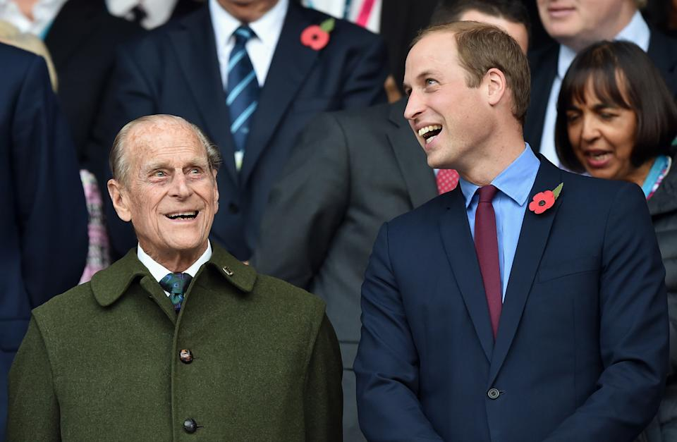 LONDON, UNITED KINGDOM - OCTOBER 31: (EMBARGOED FOR PUBLICATION IN UK NEWSPAPERS UNTIL 48 HOURS AFTER CREATE DATE AND TIME) Prince Philip, Duke of Edinburgh and Prince William, Duke of Cambridge attend the 2015 Rugby World Cup Final match between New Zealand and Australia at Twickenham Stadium on October 31, 2015 in London, England. (Photo by Max Mumby/Pool/Indigo/Getty Images)