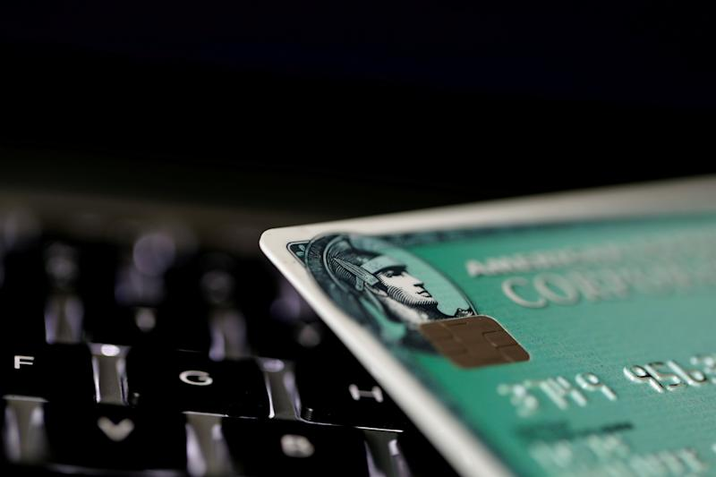FILE PHOTO: An American Express credit card is seen on a computer keyboard in this picture illustration