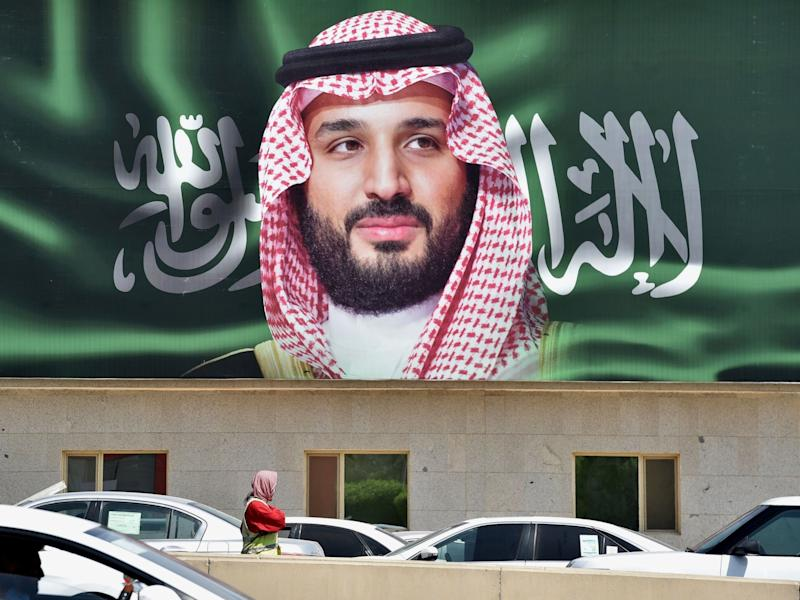 A portrait of Mohammed bin Salman is displayed in Riyadh: AFP/Getty