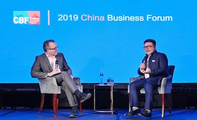 Seng Yee Lau, Tencent's Senior Executive Vice President, talks with Professor Julian Birkinshaw, Deputy Dean at London Business School and Professor of Strategy and Entrepreneurship, during the China Business Forum 2019 hosted by LBS on May 17