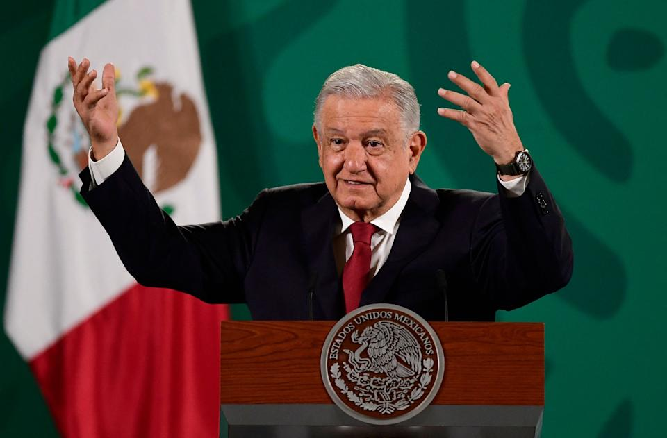 Mexico's President Andres Manuel Lopez Obrador speaks during his daily morning press conference in Mexico City on October 8, 2021. - The United States and Mexico are set to discuss an overhaul of their joint fight against drug cartels during a visit by US Secretary of State Antony Blinken on Friday. Lopez Obrador has said Mexico no longer wants helicopter gunships and other weapons to combat drug traffickers, urging the US to invest in regional economic development instead. (Photo by Pedro PARDO / AFP) (Photo by PEDRO PARDO/AFP via Getty Images)