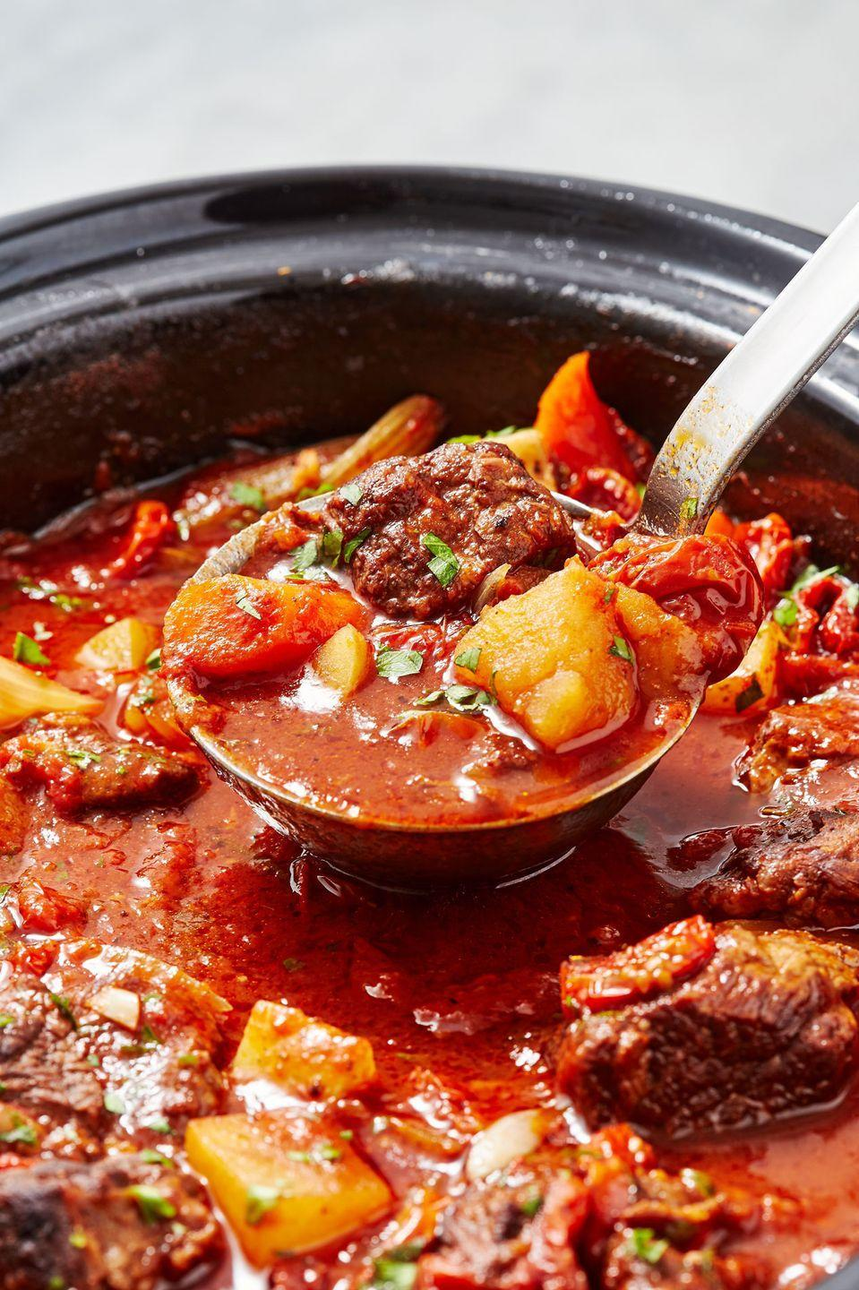 """<p>Pro tip: Searing the beef helps create the most tender piece of meat.</p><p>Get the recipe from <a href=""""https://www.delish.com/cooking/recipe-ideas/recipes/a49563/slow-cooker-red-wine-beef-stew-recipe/"""" rel=""""nofollow noopener"""" target=""""_blank"""" data-ylk=""""slk:Delish"""" class=""""link rapid-noclick-resp"""">Delish</a>.</p>"""
