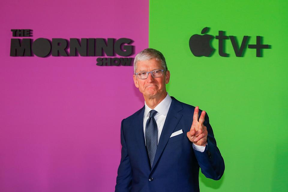 """Apple CEO Tim Cook arrives to the global premiere for Apple's """"The Morning Show"""" at the Lincoln Center in the Manhattan borough of New York City, U.S., October 28, 2019. REUTERS/Eduardo Munoz"""