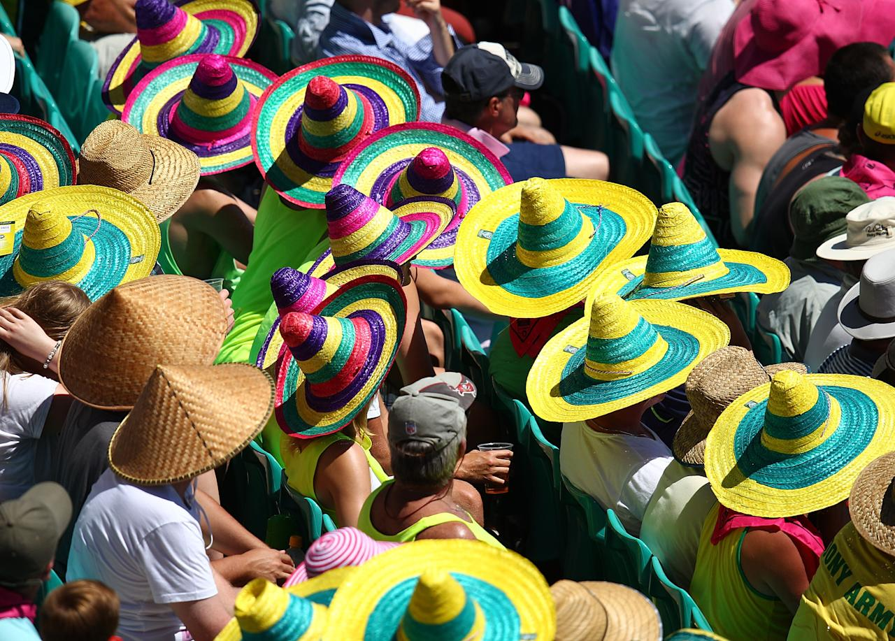 SYDNEY, AUSTRALIA - JANUARY 04:  Fans wear hats to keep cool during day two of the Third Test match between Australia and Sri Lanka at Sydney Cricket Ground on January 4, 2013 in Sydney, Australia.  (Photo by Marianna Massey/Getty Images)