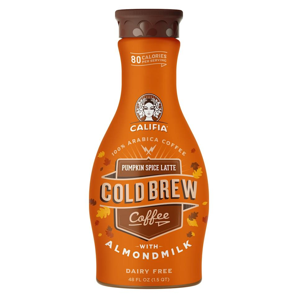 """<p>If you can't get up and going without your morning cold brew, this <a href=""""https://www.popsugar.com/buy/Califia-Farms-Pumpkin-Spice-Latte-Cold-Brew-482876?p_name=Califia%20Farms%20Pumpkin%20Spice%20Latte%20Cold%20Brew&retailer=amazon.com&pid=482876&price=38&evar1=fit%3Aus&evar9=44024964&evar98=https%3A%2F%2Fwww.popsugar.com%2Ffitness%2Fphoto-gallery%2F44024964%2Fimage%2F44024977%2FCalifia-Farms-Pumpkin-Spice-Latte-Cold-Brew&list1=healthy%20snacks&prop13=api&pdata=1"""" rel=""""nofollow"""" data-shoppable-link=""""1"""" target=""""_blank"""" class=""""ga-track"""" data-ga-category=""""Related"""" data-ga-label=""""https://www.amazon.com/dp/B075YXKW4F/ref=cm_sw_r_tw_dp_U_x_c8xxDb6TQYRES"""" data-ga-action=""""In-Line Links"""">Califia Farms Pumpkin Spice Latte Cold Brew</a> ($38 for 8) will put a little pep in your step. Made with almond milk, this <a href=""""https://www.popsugar.com/fitness/Califia-Farms-Almond-Milk-Cold-Brew-Pumpkin-Spice-Latte-43946762"""" class=""""ga-track"""" data-ga-category=""""Related"""" data-ga-label=""""https://www.popsugar.com/fitness/Califia-Farms-Almond-Milk-Cold-Brew-Pumpkin-Spice-Latte-43946762"""" data-ga-action=""""In-Line Links"""">ready-made latte</a> is dairy- and soy-free.</p>"""