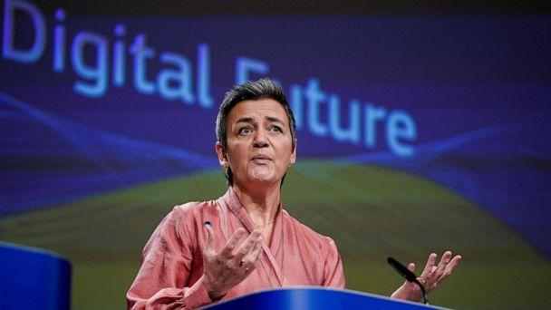 PHOTO: European Commission Executive Vice-President Margrethe Vestager addresses a press conference on Artificial Intelligence (AI) at the European Commission headquarters at the Berlaymont building in Brussels, Feb. 19, 2020. (Kenzo Tribouillard/AFP via Getty Images)