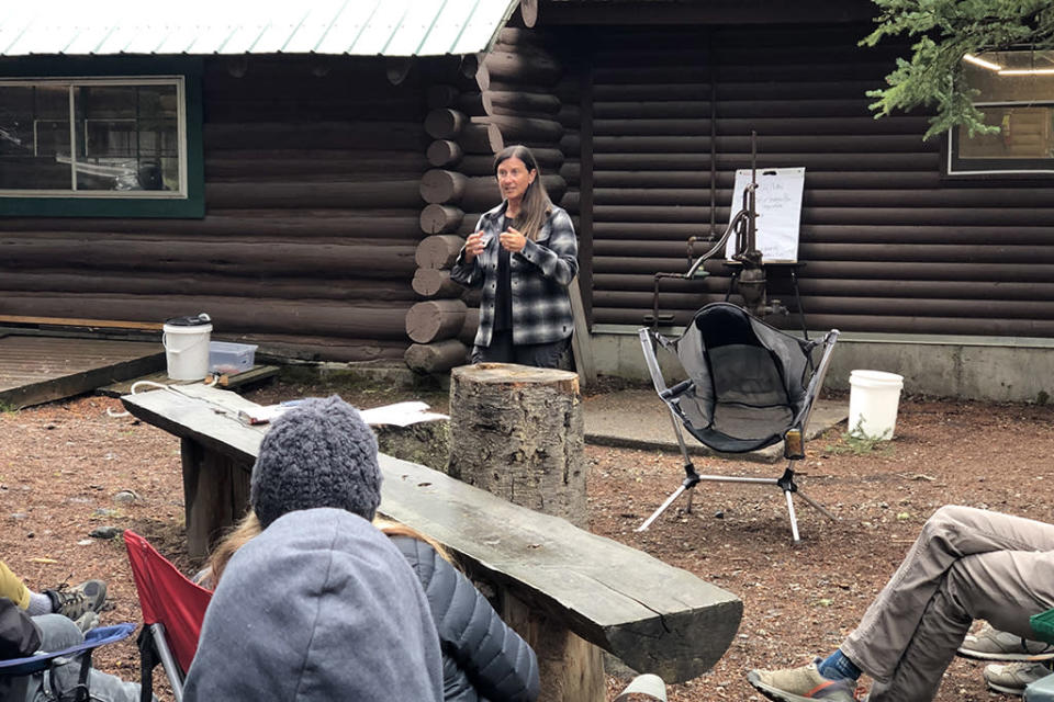 Oboz president Amy Beck leads an off-site team meeting at Hyalite Reservoir in Montana. - Credit: Courtesy of Oboz