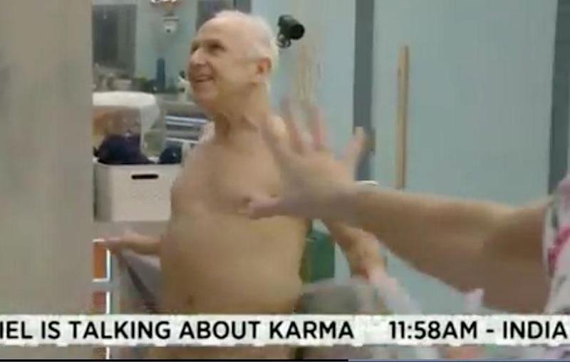 In a recent episode of Celebrity Big Brother, Wayne Sleep flashes his nether regions. Source: Channel 5