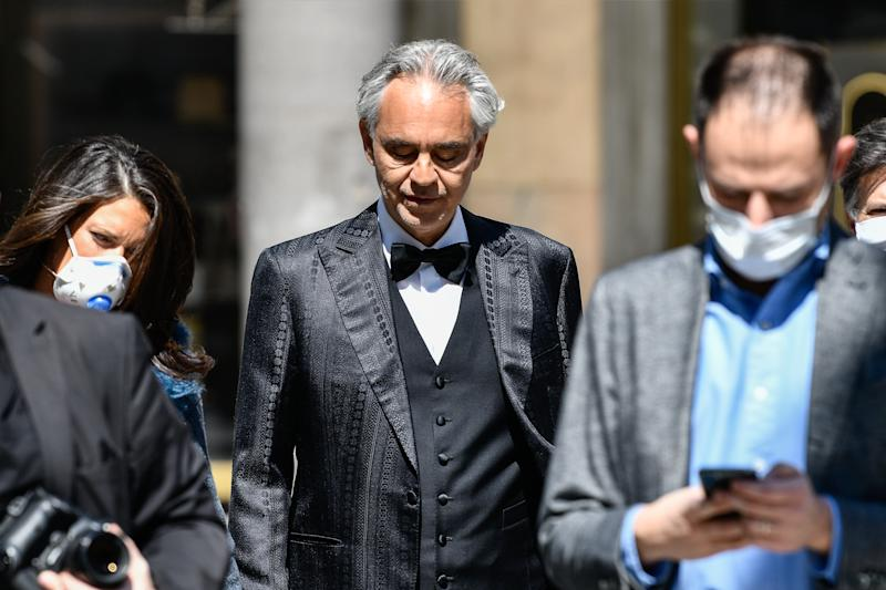 MILAN, ITALY - APRIL 12: Andrea Bocelli outside the Duomo Cathedral of Milan, before the start of the concert. On Easter day, the icon of Italian music in the world will perform alone to give a message of love during the coronavirus period. during the Andrea Bocelli Concert In Milan at the Duomo on April 12, 2020 in Milan Italy (Photo by Mattia Ozbot/Soccrates/Getty Images)