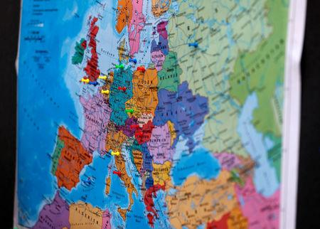 A map of European countries is pictured during the election campaign of Arne Lietz, candidate of the Social Democratic Party (SPD) for the upcoming European Parliament elections campaigns in Quedlinburg, Germany, May 4, 2019. Picture taken May 4, 2019. REUTERS/Fabrizio Bensch