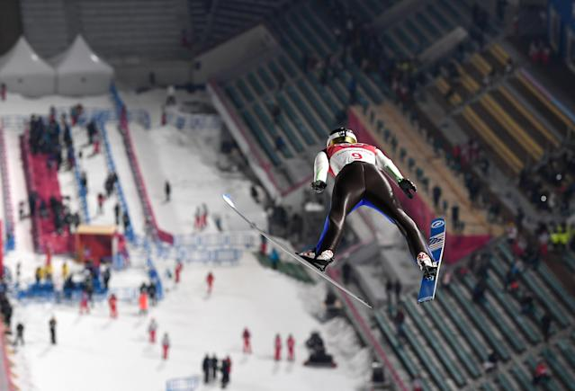 USA's Michael Glasder competes in the men's normal hill individual ski jumping trial qualifying event during the Pyeongchang 2018 Winter Olympic Games. (Getty Images)