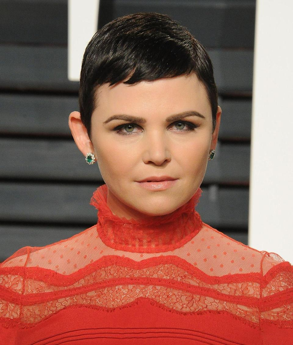 <p>Let's have a moment of silence for Ginnifer Goodwin's razor-sharp jawline emphasised by her slicked pixie cut. The side sweep keeps her overall look feminine and romantic, which is a nice juxtaposition for such a bold cut. </p>