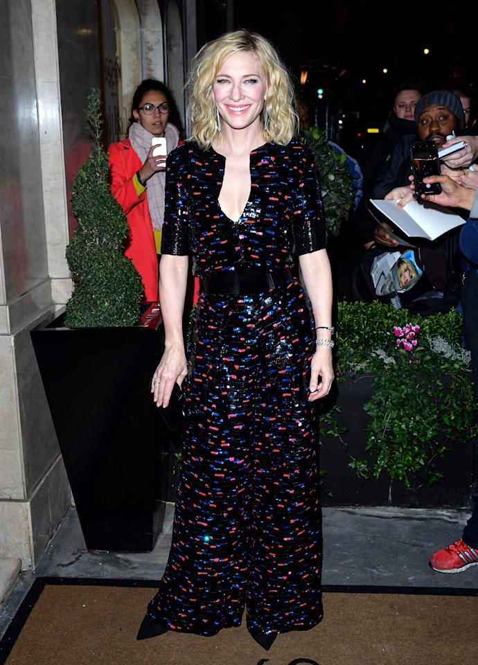 Cate Blanchett wore a retro wide-leg jumpsuit covered in sequins. [Photo: Getty]