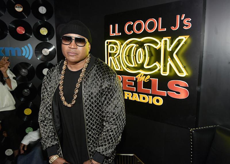 "LOS ANGELES, CA - MARCH 28: LL COOL J poses onstage during LL COOL J Celebrates the Launch of His Exclusive SiriusXM Channel ""Rock The Bells Radio"" at World on Wheels in Los Angeles on March 28. (Photo by Neilson Barnard/Getty Images for SiriusXM)"