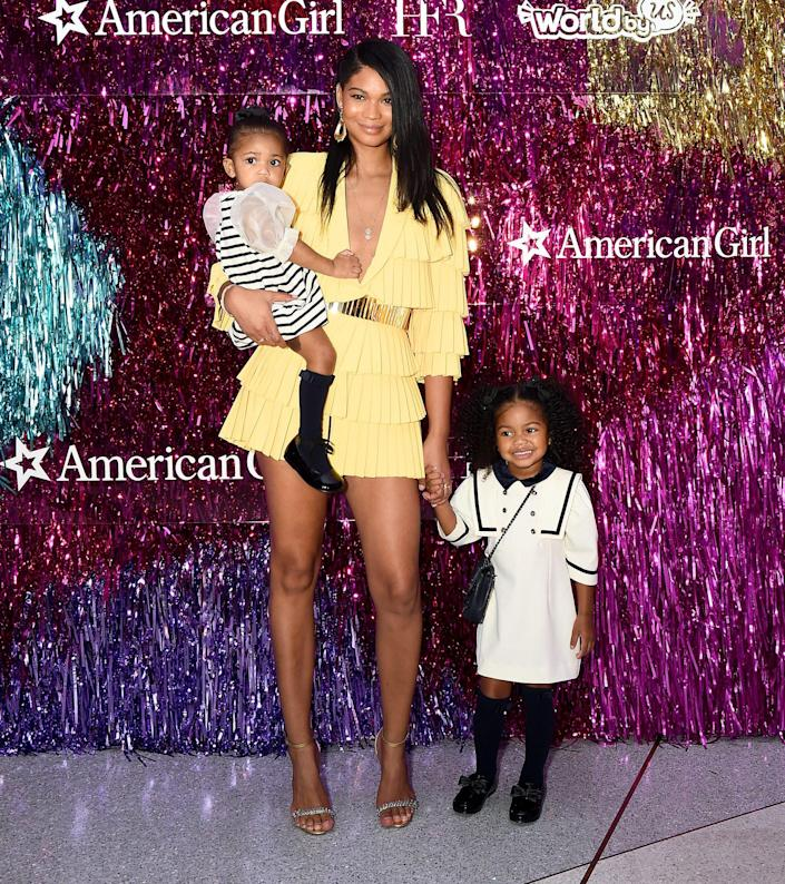 <p>Chanel Iman brings daughters Cali and Cassie as American Girl celebrates its 35th anniversary and the debut of World by Us at a fashion show event in partnership with Harlem's Fashion Row in N.Y.C. on Sept. 23. </p>