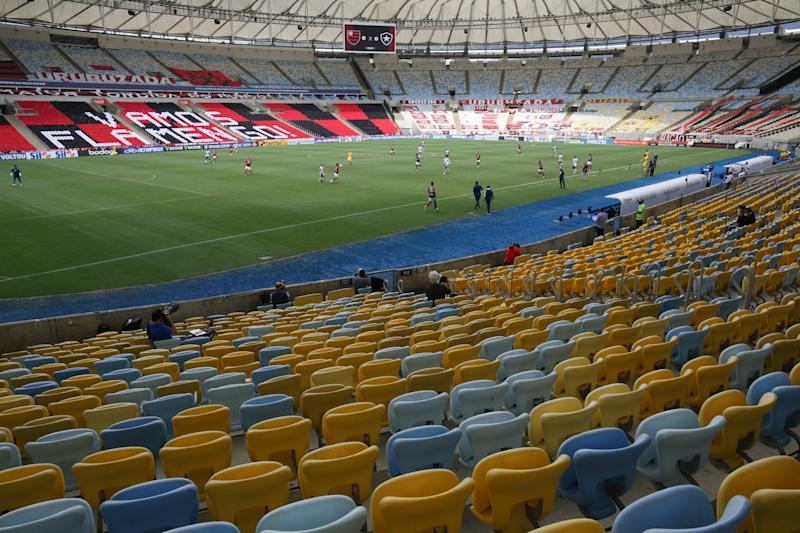 RIO DE JANEIRO, BRAZIL - AUGUST 23: A general view of the stadium during the match between Flamengo and Botafogo as part of the 2020 Brasileirao Series A at Maracana Stadium on August 23, 2020 in Rio de Janeiro, Brazil. The match is played behind closed doors and with precautionary measures against the spread of coronavirus (COVID-19). (Photo by Andre Coelho/Getty Images)