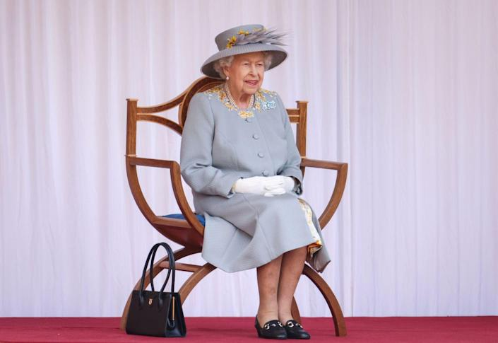 <p>Queen Elizabeth at Trooping the Colour 2021. </p>