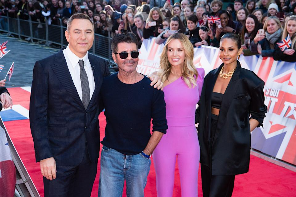 LONDON, ENGLAND - JANUARY 19: (L-R) David Walliams, Simon Cowell, Amanda Holden and Alesha Dixon attend the Britain's Got Talent 2020 photocall at London Palladium on January 19, 2020 in London, England. (Photo by Jeff Spicer/WireImage)