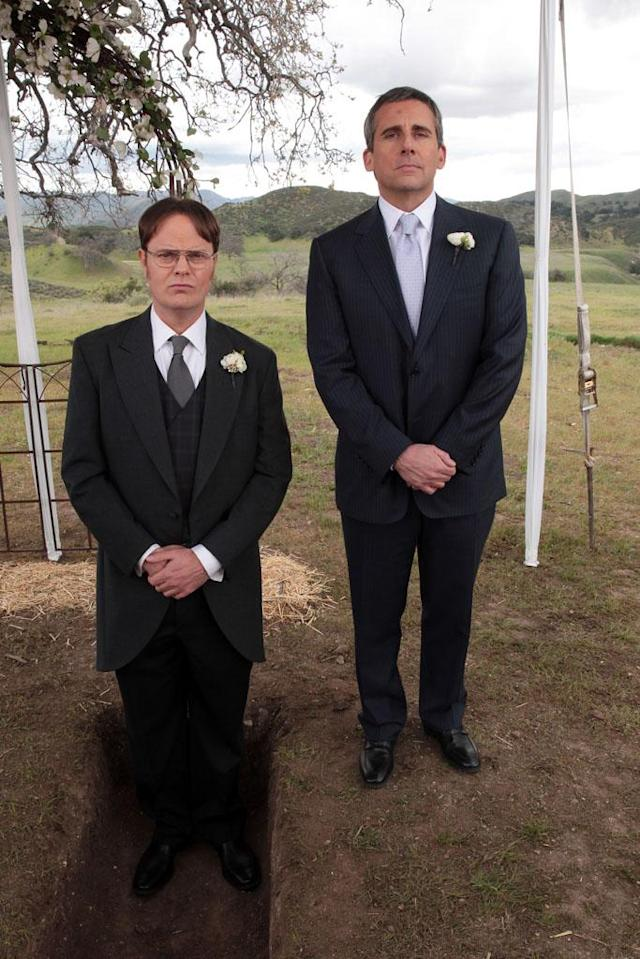"""Finale"" Episode 924/925 -- Pictured: (l-r) Rainn Wilson as Dwight Schrute, Steve Carell as Michael Scott"