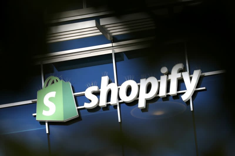The logo of Shopify is seen outside its headquarters in Ottawa