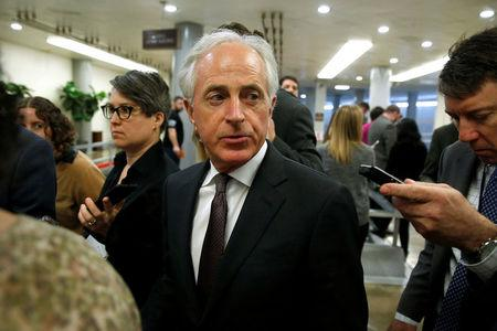 Senator Bob Corker (R-TN) speaks to reporters as he arrives for the weekly Senate Republican policy luncheon in Washington