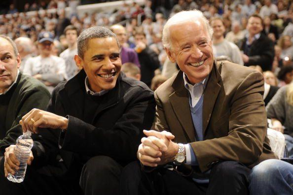 <p>Obama and Biden during a college basketball game between Georgetown and Duke on January 30, 2010. </p>