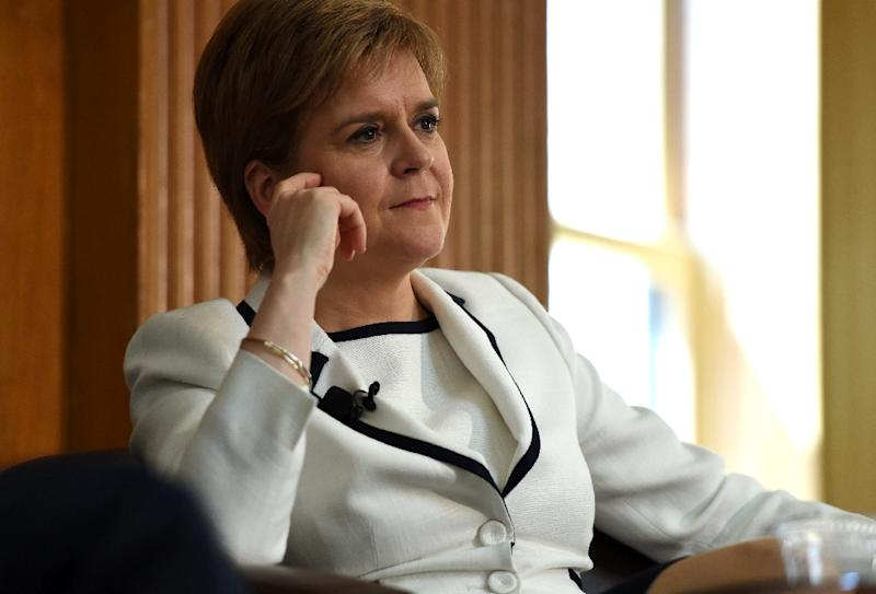 First Minister of Scotland Nicola Sturgeon speaks to students during an event at Stanford University in Stanford, California. on April 4, 2017