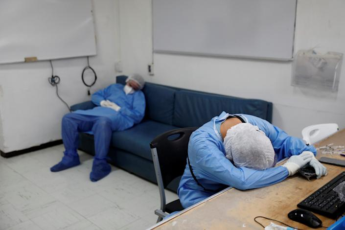 healthcare workers tired