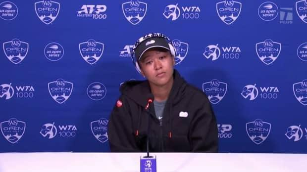 Naomi Osaka fields questions during a press conference at the Western & Southern Open in Cincinnati on Monday. (Women's Tennis Association - image credit)