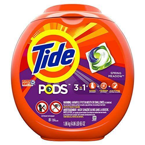 """<p><strong>Tide Pods</strong></p><p>amazon.com</p><p><strong>$19.99</strong></p><p><a href=""""https://www.amazon.com/dp/B01BUNHFQM?tag=syn-yahoo-20&ascsubtag=%5Bartid%7C10055.g.375%5Bsrc%7Cyahoo-us"""" rel=""""nofollow noopener"""" target=""""_blank"""" data-ylk=""""slk:Shop Now"""" class=""""link rapid-noclick-resp"""">Shop Now</a></p><p>It's hard to top detergent packs for convenience and it's also hard to top Tide Pods in our tests. They earned the most perfect scores, <strong>removing mud, chocolate, gravy, grass and more </strong>from cotton and polyester in warm and cold water. Its 3-in-1 formula consists of a super concentrated detergent, extra stain fighters, and color protector. </p>"""